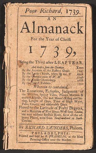 330px Poor Richard Almanack 1739