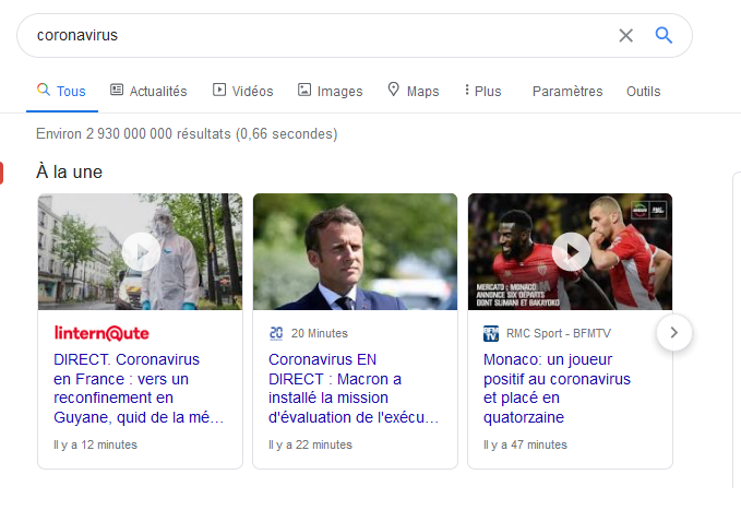 Carrousels d'actualités (alias Top stories)