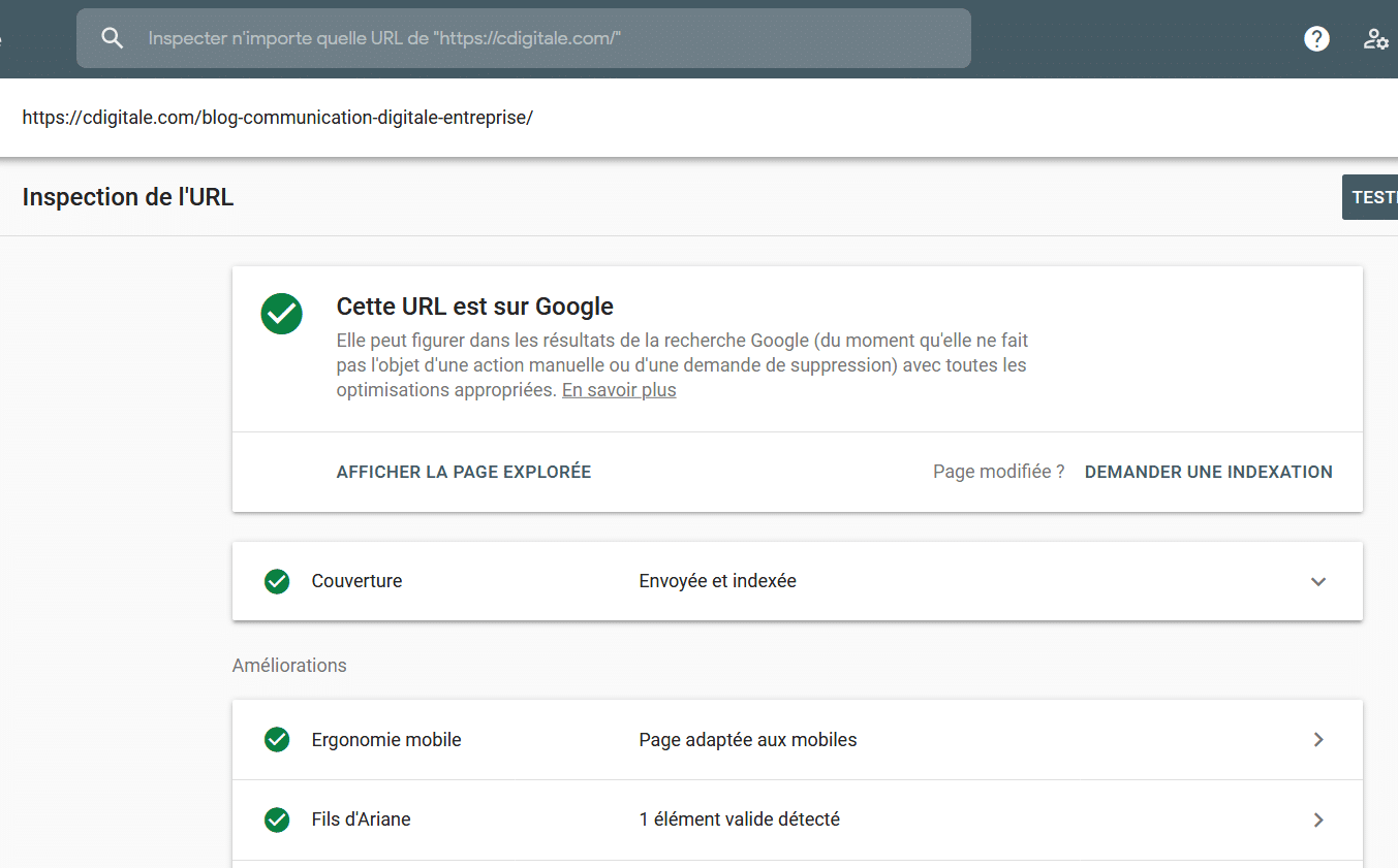 inspection de ses urls sur search console