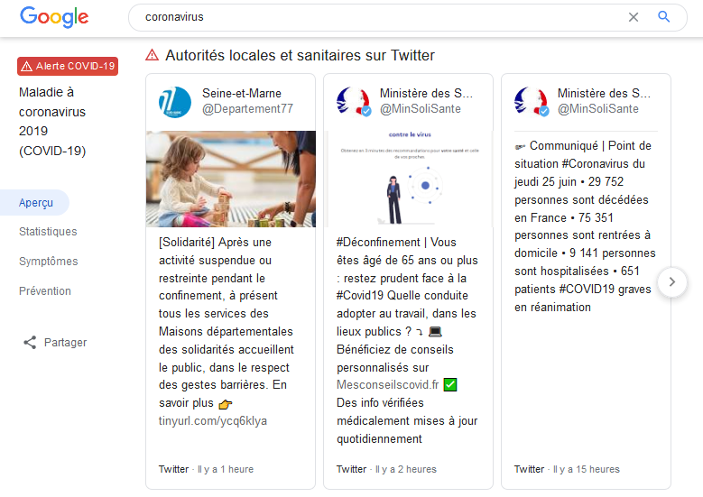 tweets boxes sur google