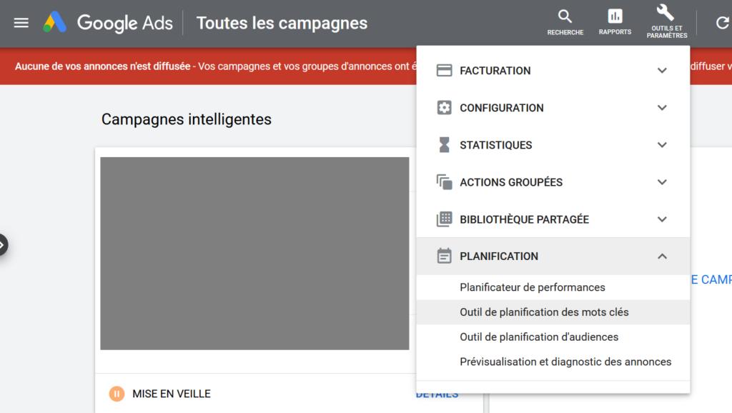 Google ads plannificateur de mots clés