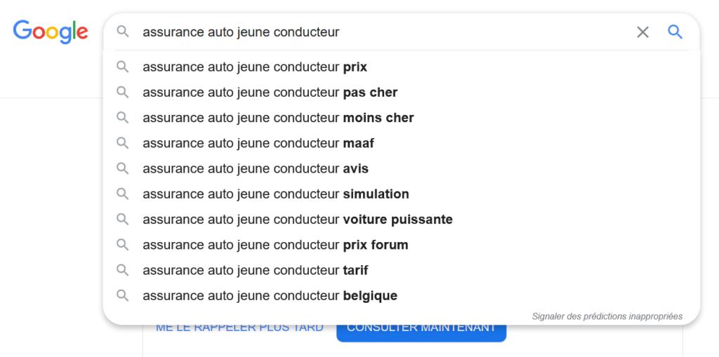 google suggest recherche de mots clés