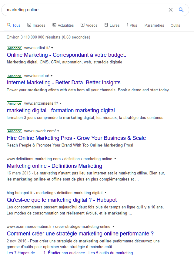 recherche mots clés sur google avec le marketing online