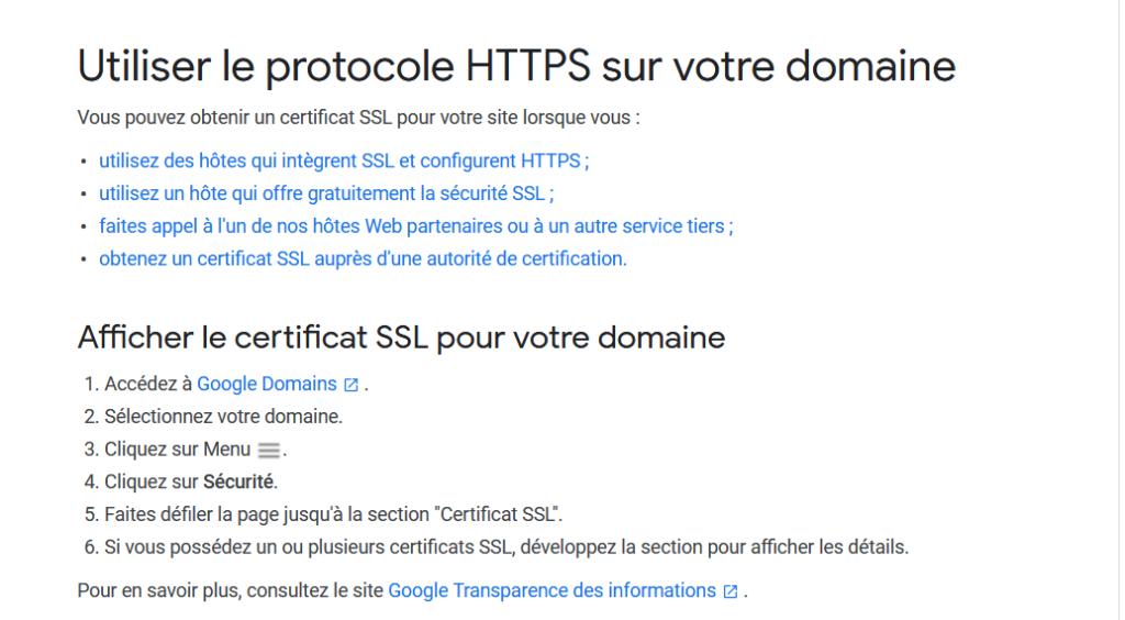 Utiliser le protocole HTTPS sur votre domaine